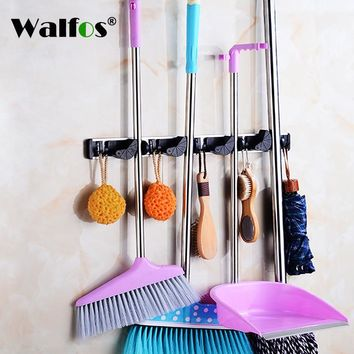 Universal Kitchen Storage Tool Holder 4 Position With 5 Hooks Wall Mounted Storage Organizer Mop and Bathroom Holders Racks