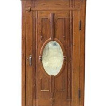 British Armoires Colonial Vintage Hand Carved Teak Mirror Cabinet Rustic Indian Furniture | Mogul Interior