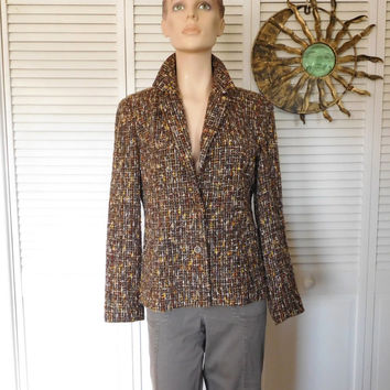 Brown Tweed Blazer Size 10p Shoulder Pads Wool and Acrylic Vintage Coat
