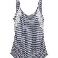 Aerie Women's Stripe & Lace Tank