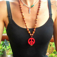Red Peace Sign Necklace / Stone Necklace / Ban the Bomb Necklace / Long Beaded Necklace / Boho Necklace / Womens Hippie Necklace