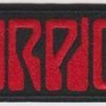 Scorpions Iron-On Patch Rectangle Red Letters Logo