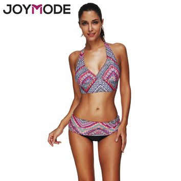 JOYMODE 2018 Bikini Women Geometric Bikini Swimsuit Halter Swimwear Summer Geometric Print Floral Beachwear For Wommen M-3XL -F
