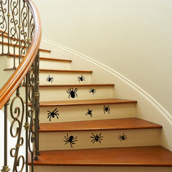 Wall Decals Vinyl Decal 10 Spiders Staircase Stairway Stairs Home Vinyl Decal Sticker Kids Nursery Baby Room Decor kk108
