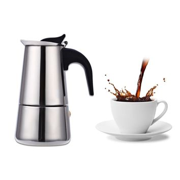 2/4/6/9 Cups Coffee Maker Pot Stainless Steel Mocha Espresso Latte Stovetop Filter Moka Coffee Maker Coffee Pot for Home Kitchen