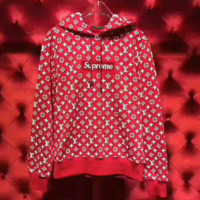 LV Supreme Fashion Embroidered tea red hooded sweater G-AGG-CZDL