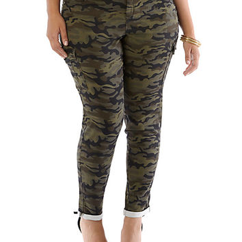 Plus-Size Stretch Camo Pants with Rolled Cuffs - Rainbow