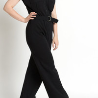 Vintage 70s Black Zip Up Sleeveless Pants Jumpsuit | M/L