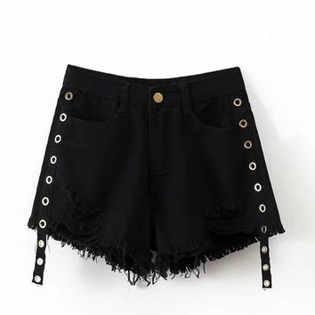 Black High Waist Eyelet Raw Hem Denim Shorts