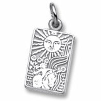 Tarot Card Charm In Sterling Silver