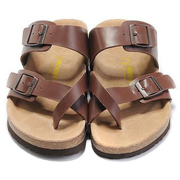 Birkenstock Leather Cork Flats Shoes Women Men Casual Sandals Shoes Soft Footbed Slippers-213