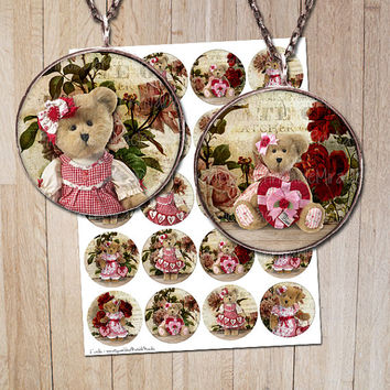"Teddy bear Valentine's Day favor gift tags / Valentines Digital Collage Sheet for Pendant images Labels Bottle cap images 2"" 1,313"" 1"""