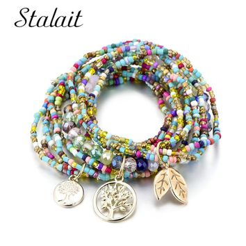 Bohemian Style Life of Tree Leave Charm Beads Bracelets For Women Boho Multilayer Crystal Seed Bead Bracelet Jewelry Party Gift