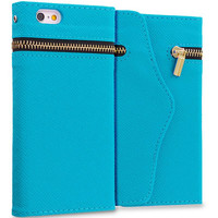 Baby Blue Zipper Wallet Case Cover Pouch With Slots for Apple iPhone 6 Plus 6S Plus (5.5)