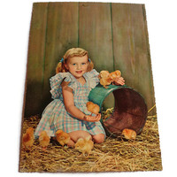 Vintage Children's 1960's Postcard . Retro Photo Postcard 60s . Little Girl with Cute Chicks . Easter .