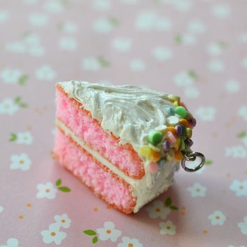 Pink Cake Slice White Frosting Polymer Clay Cake Slice Charm or Key Chain