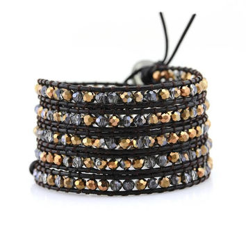 Bronze Dorado Crystals on Dark Brown Leather Wrap Bracelet