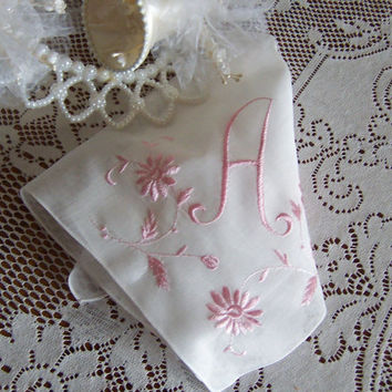 "Monogram ""A"" Handkerchief Bride's Wedding Something Old White Hanky with Pastel Pink"