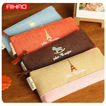 AIHAO Free shipping Cute Kawaii Fabric Linen Paris Pencil Case Cartoon Pink Trojan Pencil Bag for Kids Stationery Gift 1703
