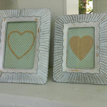 Set of 2 French Country, Shabby Chic Picture Frames, Hard Resin, Distressed White