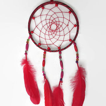 Red Dreamcatcher. FREE SHIPPING. Large Dream Catcher, Bohemian Decor, Feather Wall Art.  Wall Hanging Dreamcather