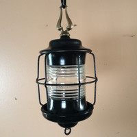 Vintage Hanging Caged Lantern Porch Pendant Light 1930s Antique