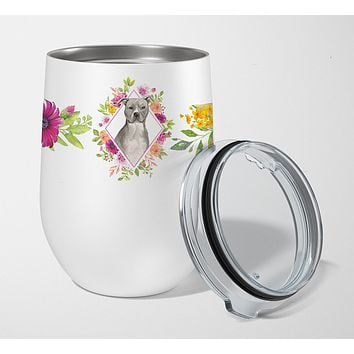 Blue Pit Bull Terrier Pink Flowers Stainless Steel 12 oz Stemless Wine Glass CK4269TBL12