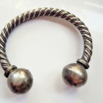 Vintage Bedouin Solid Silver Twisted Rope Upper Arm Bracelet