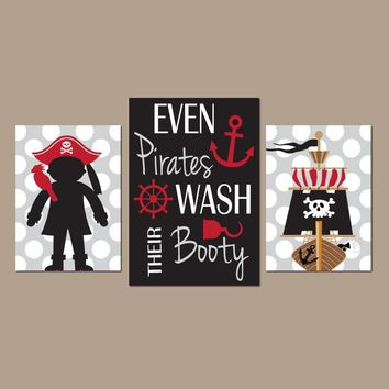 PIRATE BATHROOM Wall Art, CANVAS or Prints, Even Pirates Wash Their Booty Quote, Shared Brother Bathroom Decor, Set of 3, Boy Pirates Decor