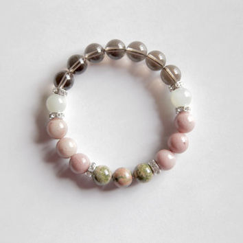 Fertility - Beautiful Genuine Unakite, Smokey Quartz, Rhodonite & Moonstone Bracelet w/ Sterling Silver Accents
