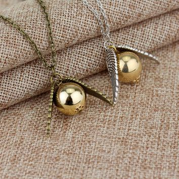 2017 Harry Potter And The Deathly Hallows Necklace Gold Snitch Exquisite Ball Wings Feather Necklaces