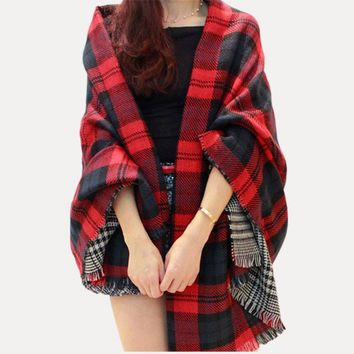 Women Red Faux Cashmere Shawl 2016 Double Faced Plaid Blanket Scarf New Winter Brand Scarf Celebrity Womens Fall Fashion Cape