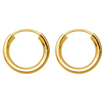Gold-Filled Sterling Silver Endless Hoop Earrings (2mm Thick), All Sizes