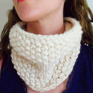 Knit Cowl Pattern PDF Digital Download Knitting Unisex Circle Scarf Boho Modern