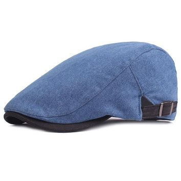 Mens Gatsby Flat Beret Cap Ivy Hat Golf Hunting Driving Cabbie Hat Forward Denim Cowboy Beret Cap