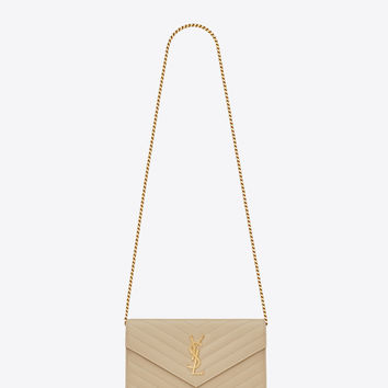 Saint Laurent MONOGRAM SAINT LAURENT CHAIN WALLET IN Powder GRAIN DE POUDRE TEXTURED MATELASSÉ LEATHER | ysl.com
