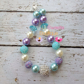 Stunning Lavender, Aqua, Ivory chunky necklace, girls jewelry, wedding jewelry, children's necklace, bubblegum jewelry, bubblegum necklace