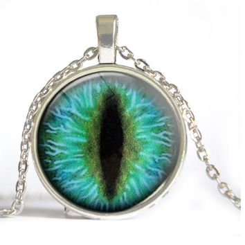 2015 hot sale cat eye necklace antique bronze necklace evil eye jewelry dragon eye necklace glass dome handmade jewelry D2
