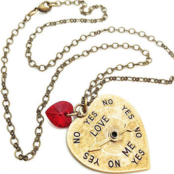 Antique Brass Necklace, Red Crystal Heart, Brass Chain, Big Heart Pendant, Gift for Teen Girl, Cute Necklace, He Loves Me, Gold Heart
