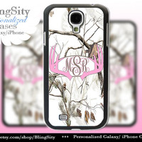 Monogram Galaxy S4 case S5  Pink Antlers Real Tree Camo White Deer Personalized Browning Samsung Galaxy S3 Case Note 2 3 Cover Country Girl