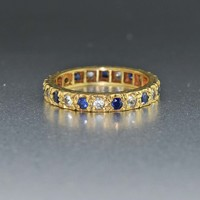 Antique Sapphire & Spinel Eternity Band Ring