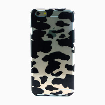 Clear Black Cow Print iPhone 6 Plus Case