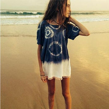 Tie-Dye Loose Fringed Dress
