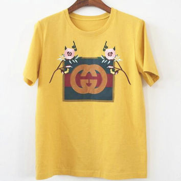 GUCCI embroidery short sleeve women T-shirt top