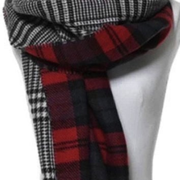 Tartan Glen Plaid Reversible Oversized Blanket Scarf / Shawl or Table Runner - Extra Long Thick & Wide