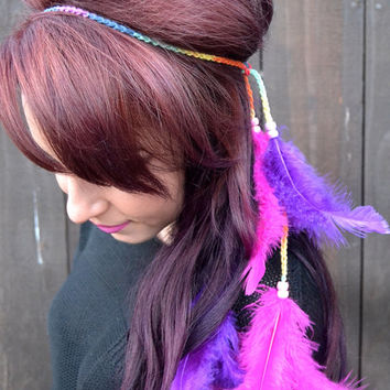 Neon Feather Headband #B1019