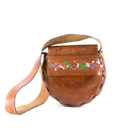 Saddle Bag Vintage 60s Boho Hippie 70s Tooled Handmade Leather