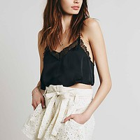 Free People Womens Lace Paper Bag Skort