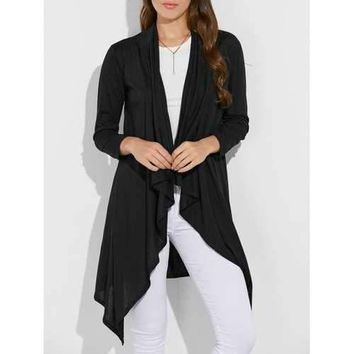 Collarless Asymmetric Duster Coat - Black S