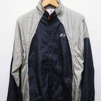 15% SALES Vintage NEW BALANCE Jacket Windbreaker Silver + Dark Blue M